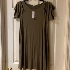 NWT Cold shoulder swing dress in military khaki